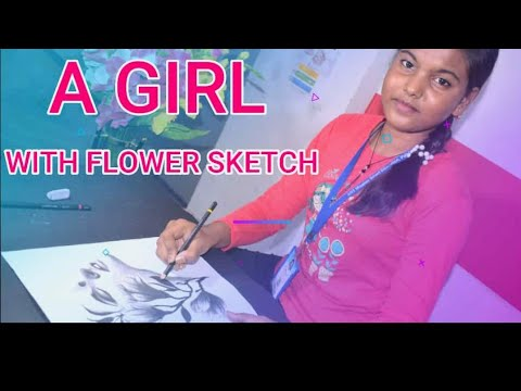 A Girl with Flower sketch | How to draw a girl with flower drawing easy tutorial | pencil sketch