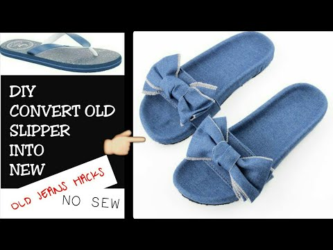 DIY SLIPPERS: How to Make Slippers Using Old Jeans and Damaged Flip Flops (Easy & No Sew)