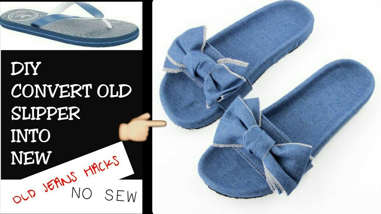 How to sew slippers from old slippers and towels 19