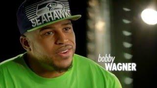 Erin Andrews, Michael Bennett and Bobby Wagner - Super Bowl Baby