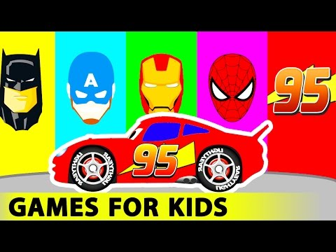 Thumbnail: Lightning MCQUEEN and Batman Spiderman Cars Cartoon for Kids in Funny Race w Colors for Children