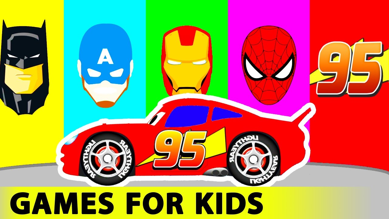 lightning mcqueen and batman spiderman cars cartoon for kids in funny race w colors for children