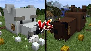 Minecraft POLAR BEAR HOUSE VS HORSE HOUSE / SPAWN MOBS TO LIVE INSIDE THEM !! Minecraft