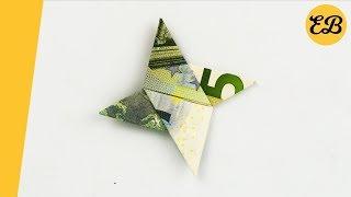 Geldschein falten Wurfstern - Geldscheine falten Stern origami