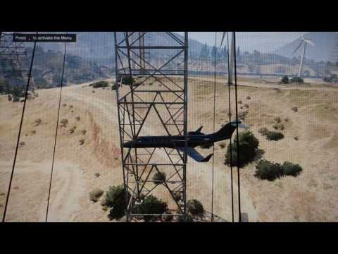Airplane Stuck in an Electric Tower and Wind Turbine Smackdown! Impossible GTA 5 Gameplay