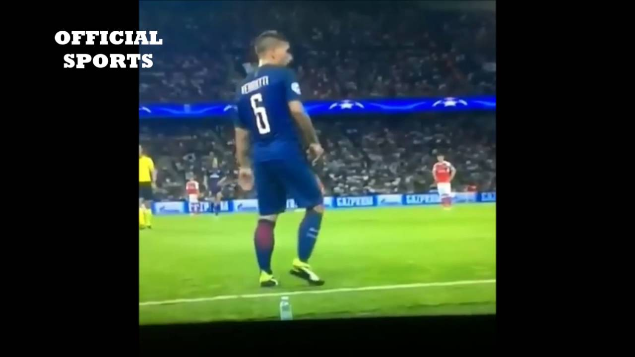 Marco Verratti Water Bottle Flip ( One of the best ) - YouTube