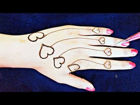 Beautiful Attractive Heart Henna Designs For Hands Stylish Mehndi