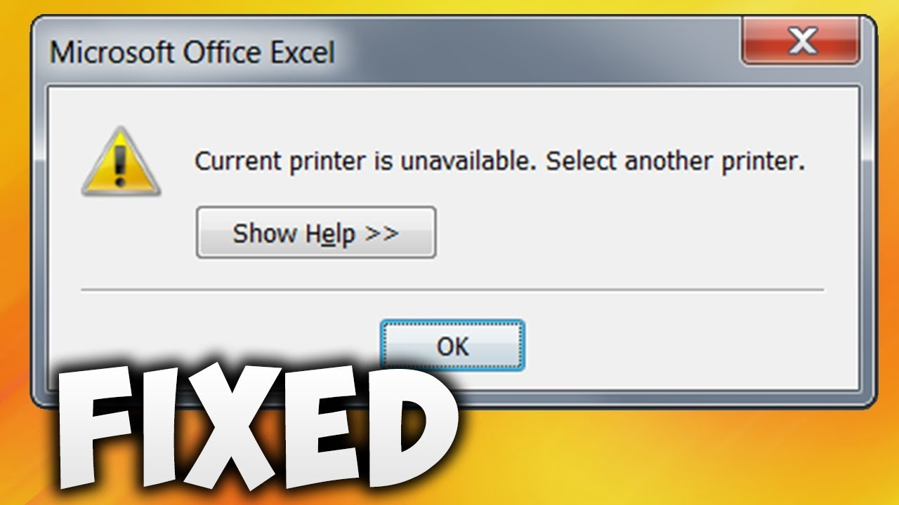 How To Fix Current Printer Is Unavailable Select Another Printer In Excel Error (Easy Solution)