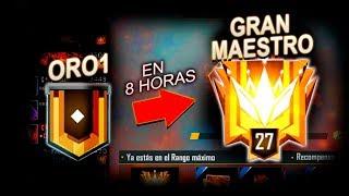 DESDE ORO 1 hasta GRAN MAESTRO en 8 HORAS ... FREE FIRE !!