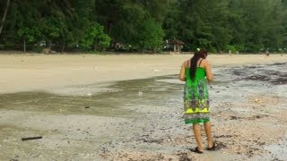 Looking for Seashells at Ao Nang Beach | Krabi Thailand HD Video