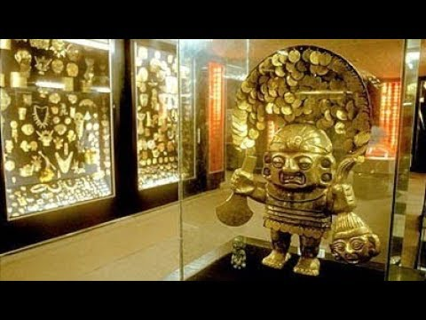 Giant Mummies on display at the Gold Museum in Lima, Peru
