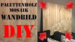 DIY Holz Wandbild - Dekoration aus Paletten - Holzwand Holzbild selber machen  Paletten deko deutsch