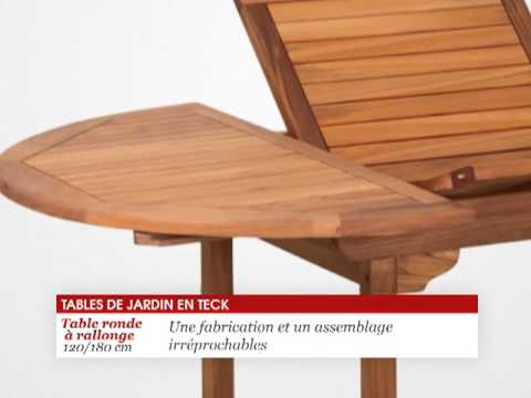 Table ronde en teck avec rallonge 120/180 cm - Tek Import - YouTube