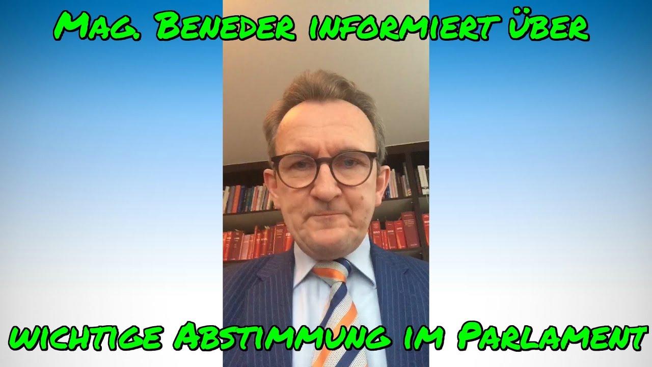 Mag. BENEDER informiert über wichtige Abstimmung im Parlament am 14.01.2021