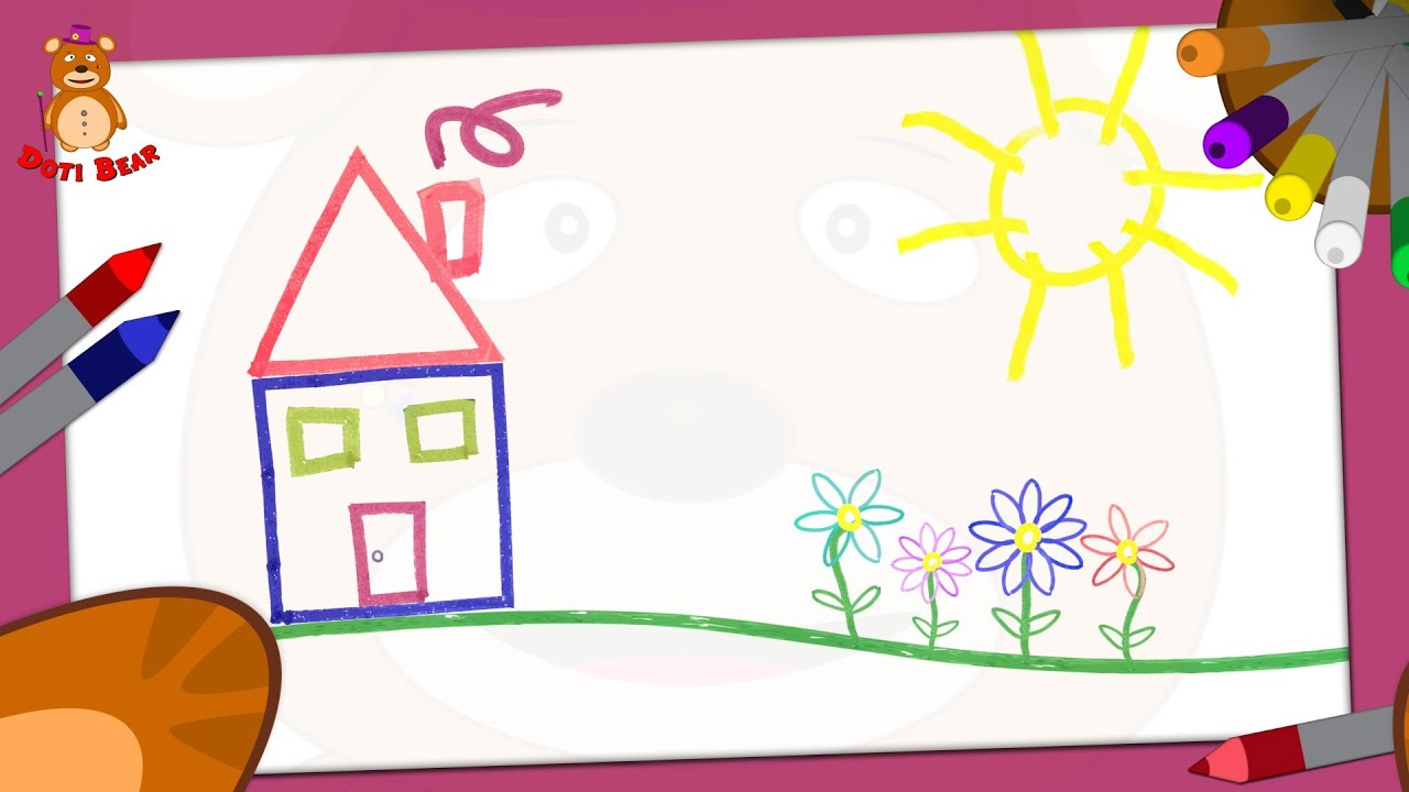 Doti Bear Learning Shapes How To Draw A House Youtube