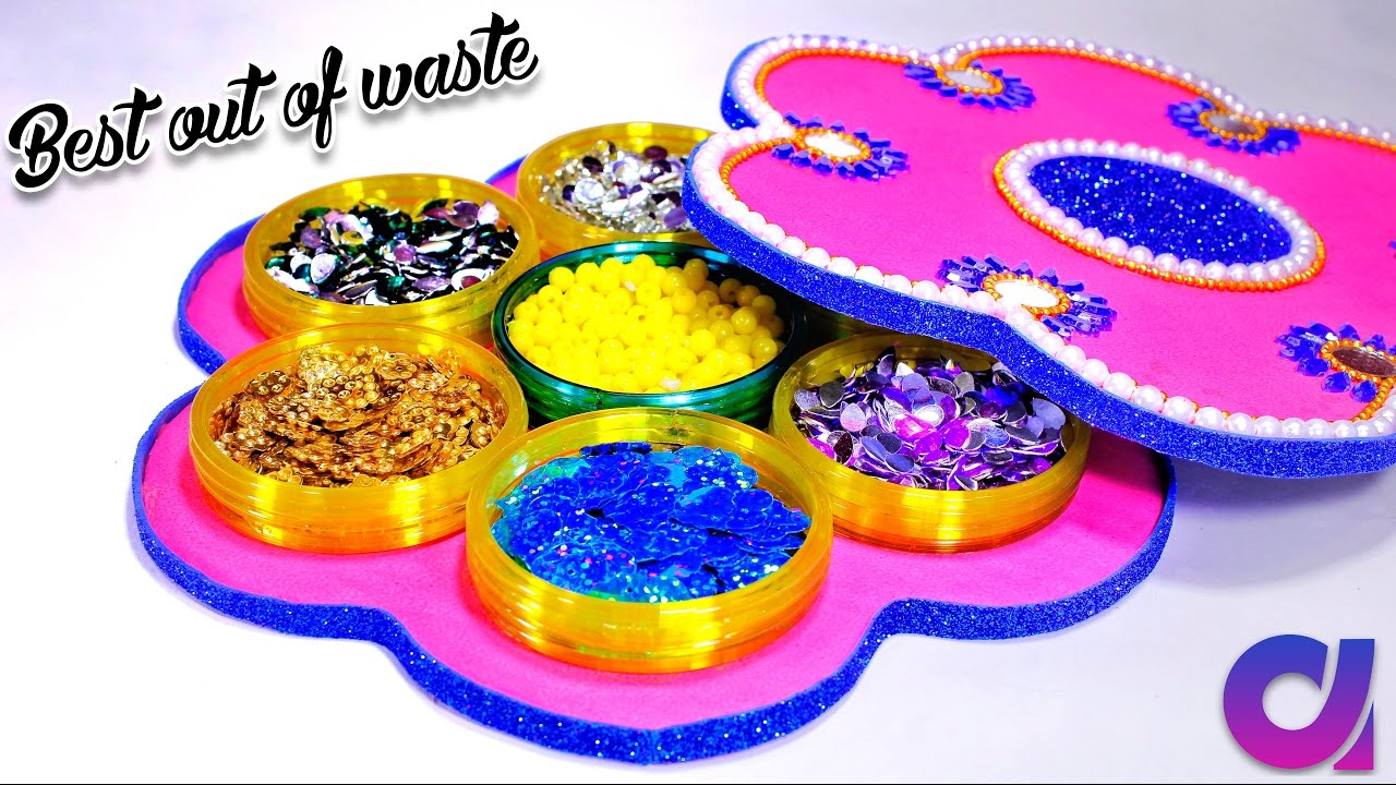 How to make multi storage boxes from old waste bangles for Best out of waste ideas for class 5 easy