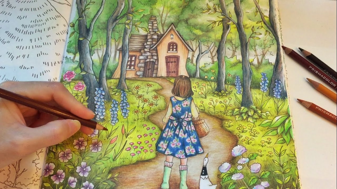 into the forest romantic country coloring book