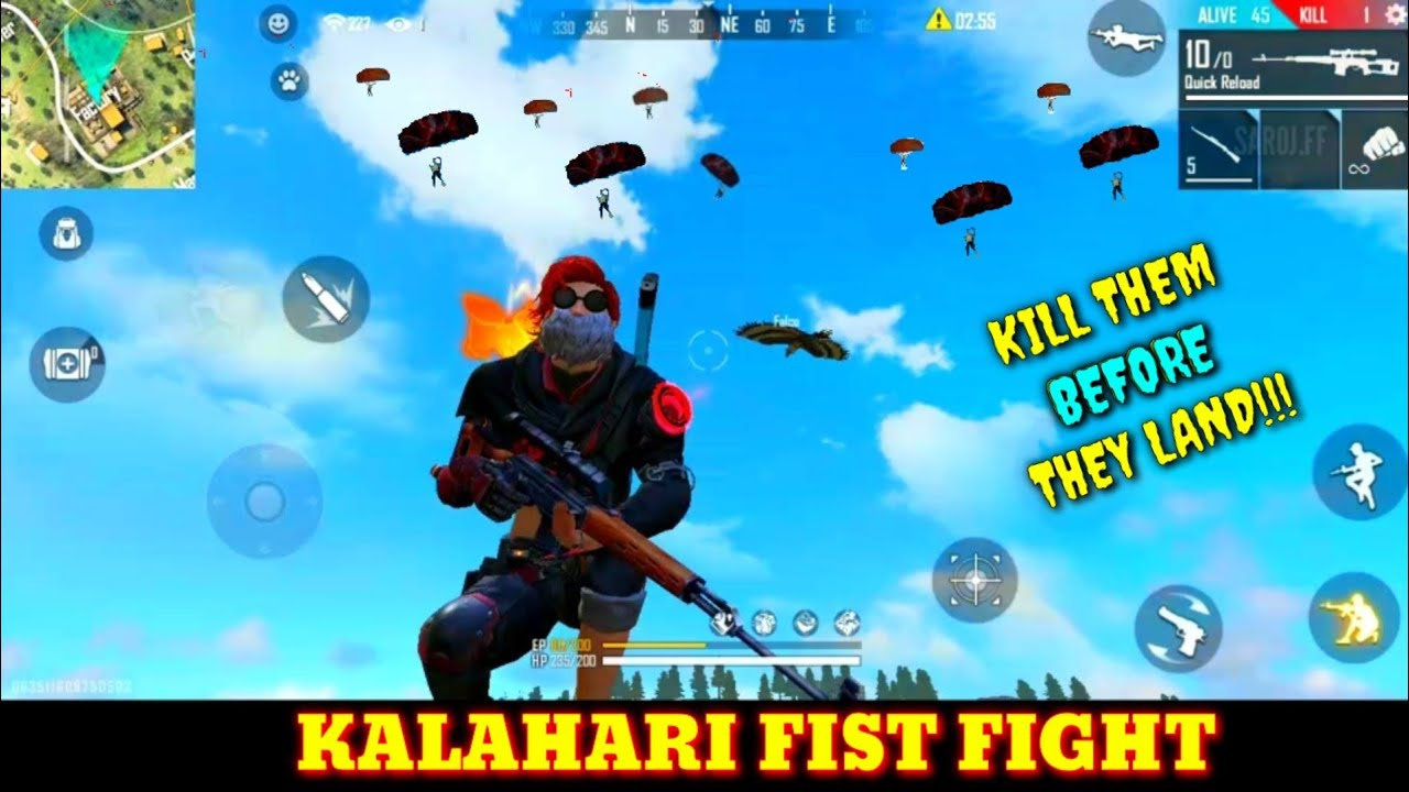 Factory challenge FF : FREE FIRE KALHArE ANTeena Factory roof fist fight - solo overpower /wtf funny