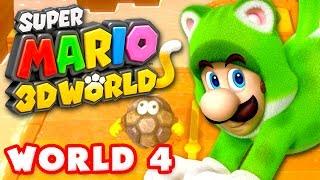 Super Mario 3D World - World 4 100% (Nintendo Wii U Gameplay Walkthrough)