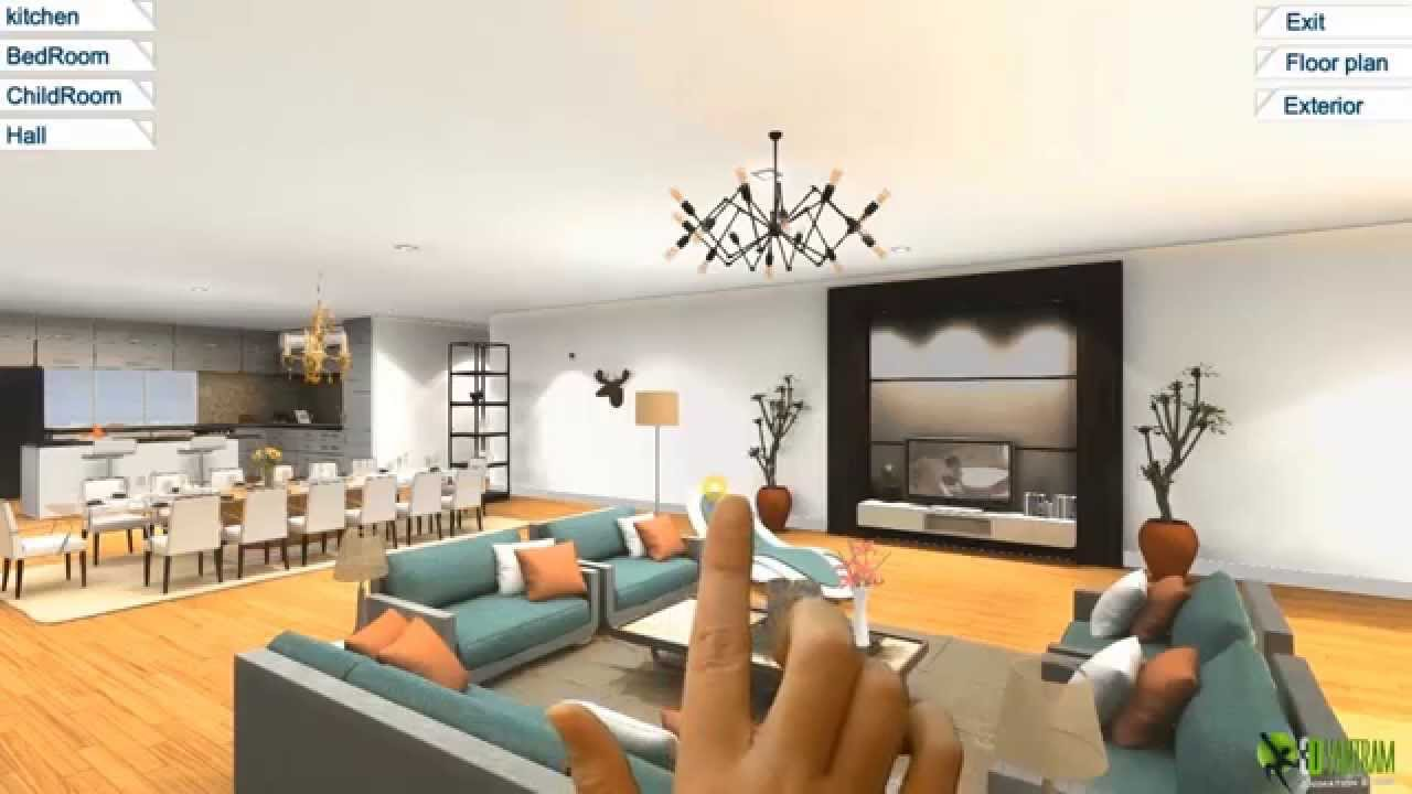 360 Virtual Reality Interior Application Experience For Touch Screen
