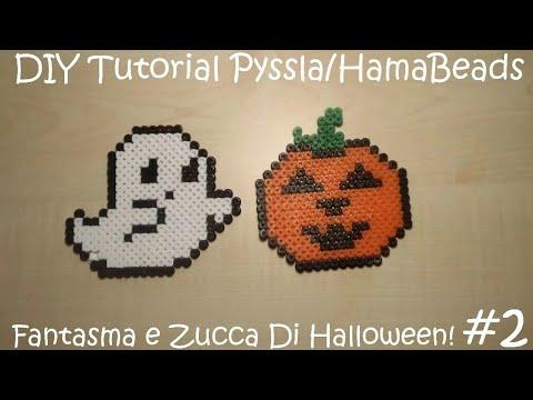 Zucca Di Halloween Pyssla.Diy Tutorial Pyssla O Hamabeads 2 Fantasmino E Zucca Di Halloween