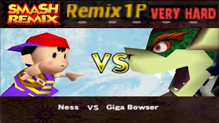 Smash Remix - Classic Mode Remix 1P Gameplay With Ness (VERY HARD)