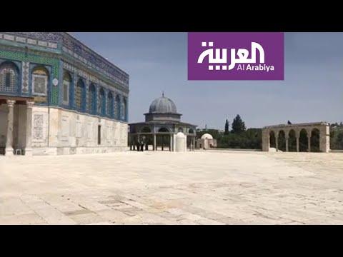 لقطات من ساحات المسجد الاقصى، في أول يوم من اغلاقه