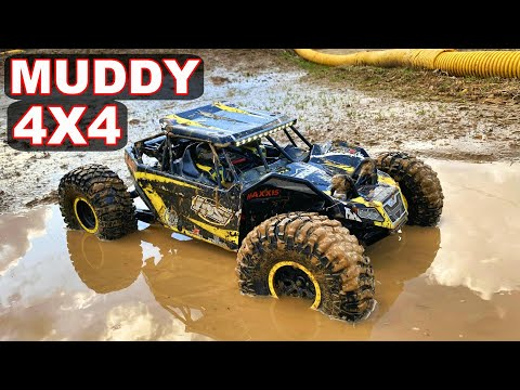 HUGE RC CAR Goes Mudding And Gets BIG AIR On The Track - Losi Rock Rey 4WD - TheRcSaylors