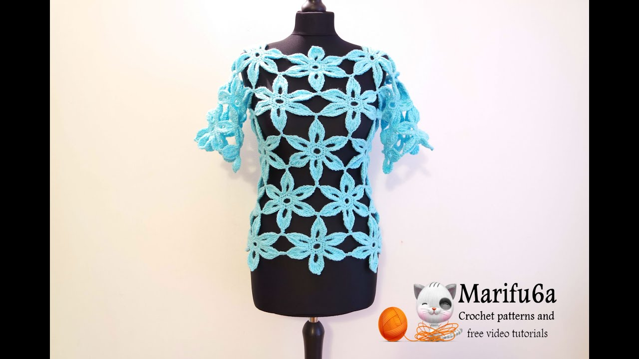 how to crochet flower tunic top sweater free pattern ...