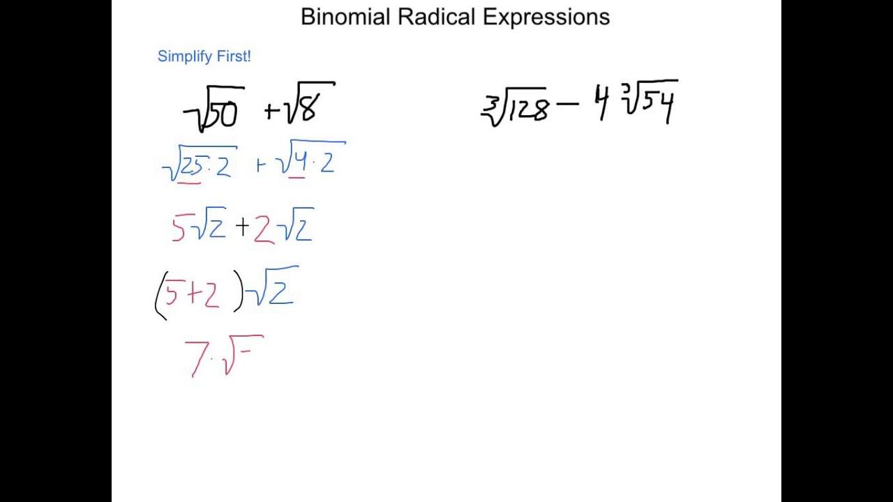 Algebra2 6 3 Binomial Radical Expression