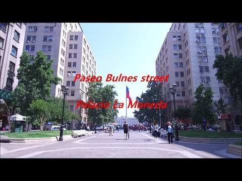 Paseo Bulnes street and Palace La Moneda in Santiago,  Chile
