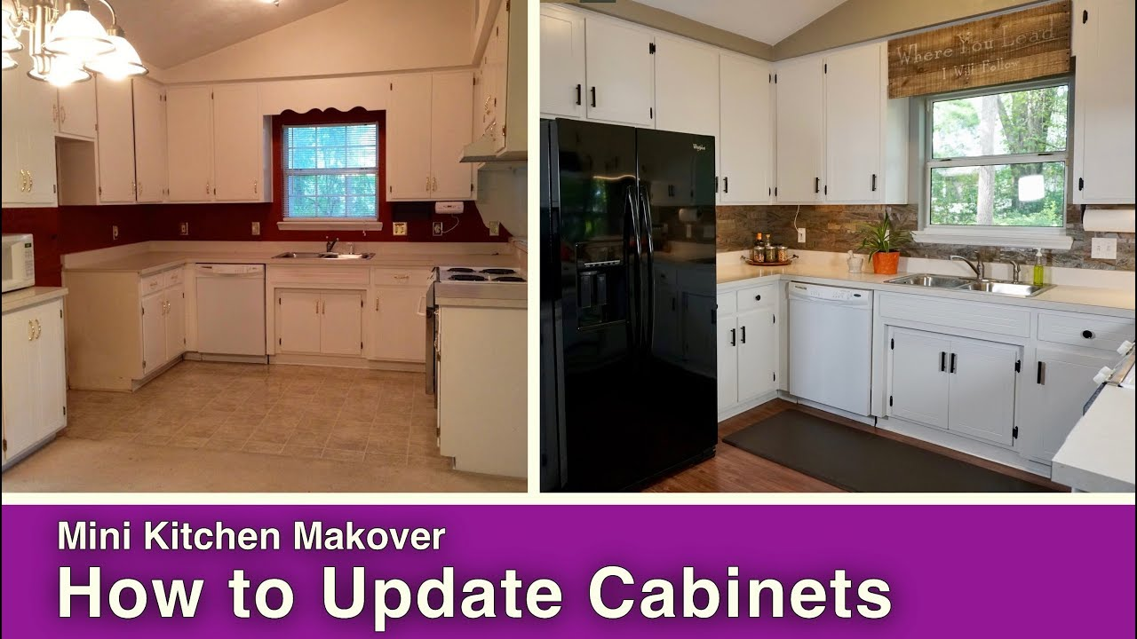 How to paint update kitchen cabinets youtube for How to update cabinets