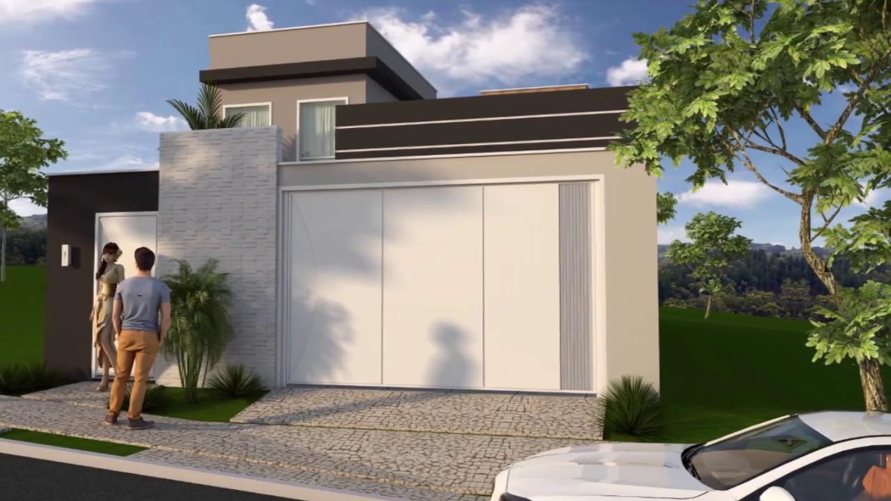Projeto planta casa terrea 125 metros terreno 8x25 moderna for Casa moderna 7x20
