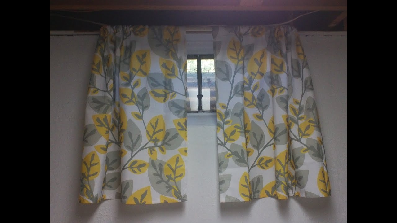 Sewing little basement curtains