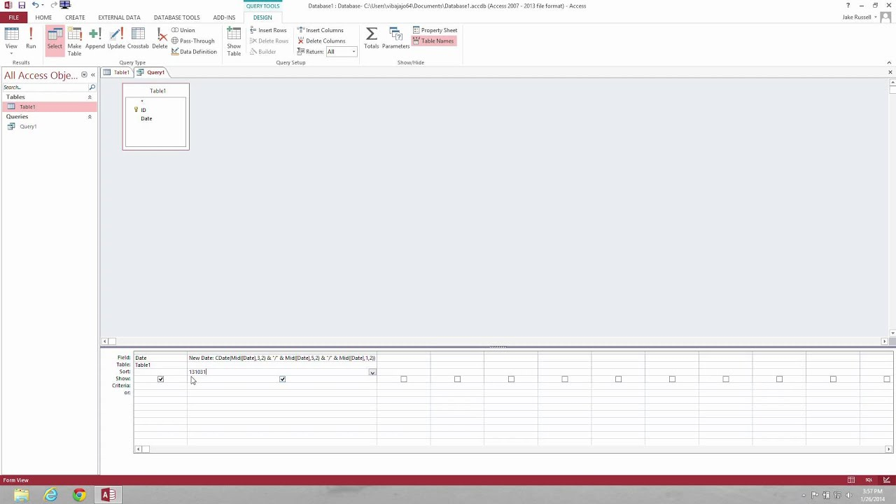 Microsoft Access - How to Format Date Field from 131031 to 10/31/2013