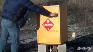 SciMatCo Flammable Chemical Storage Cabinet Burn Test