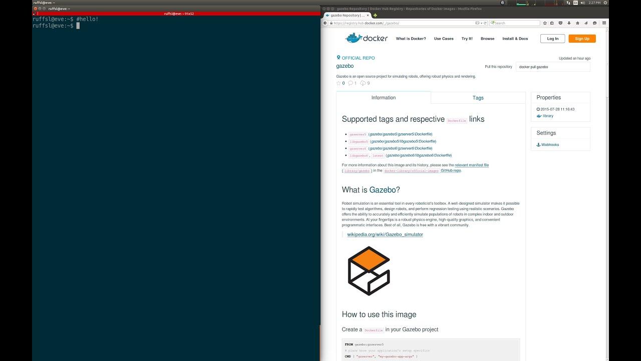Gazebo + Docker Demo: Logging and Connecting to gzserver