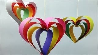 How to make 3D Paper Heart Wall Hanging-origami heart making ideas-Wall Decoration Ideas with heart