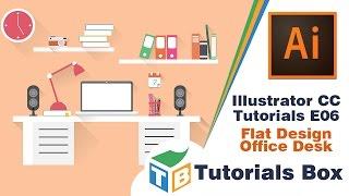 Illustrator CC tutorials | E06 | Office Desk Flat Design