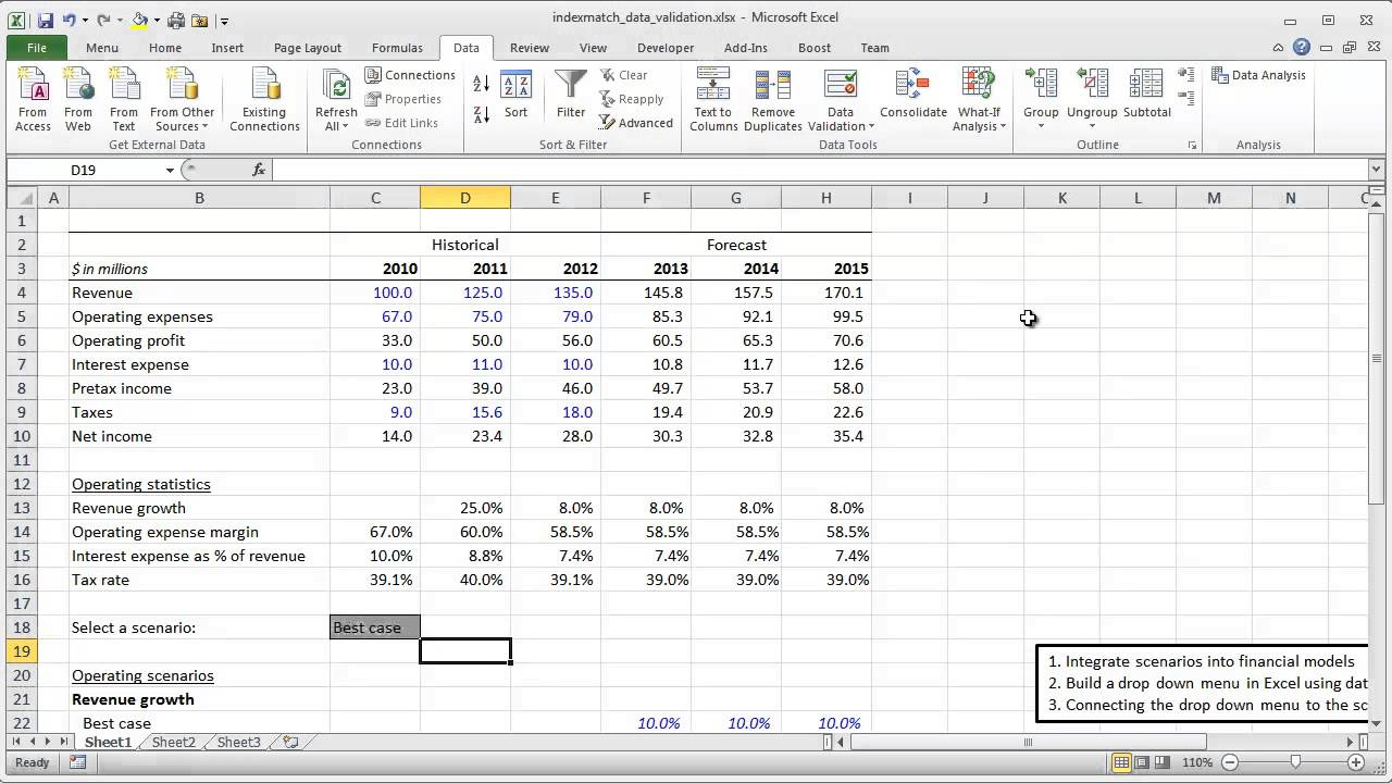 financial modeling quick lesson offset match and data validation part 1 youtube