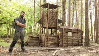 BUSHCRAFT CAMP in the FOREST - Making PRIMITIVE GLUE, Repairing the SHELTER