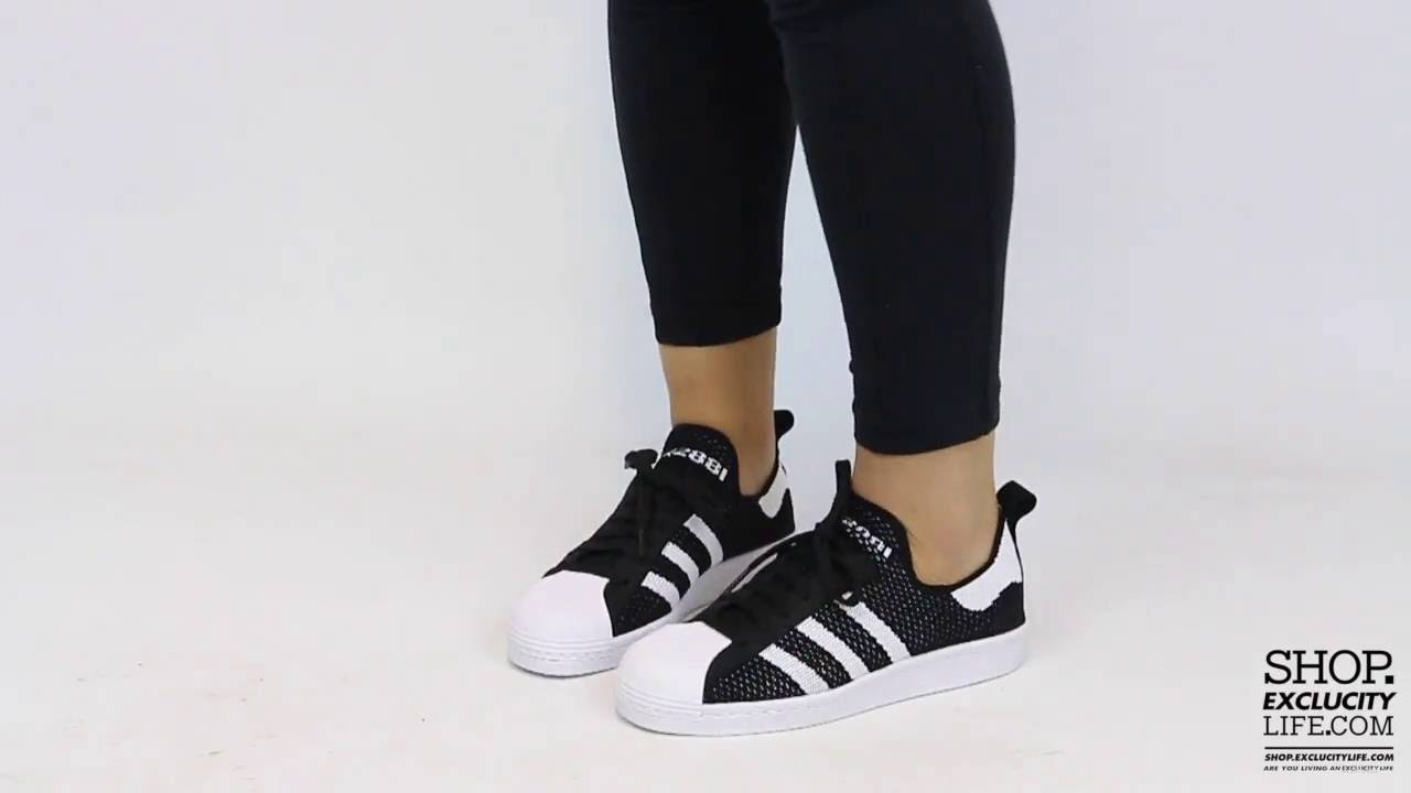 Women's Adidas Superstar 80s PK Black White On feet Video at Exclucity