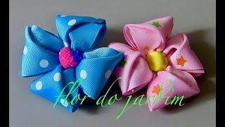 Flor celeste de gorgurão-DIY
