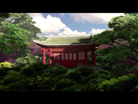 ( CGI 4k Stock Footage ) Japansese asian buddhist architecture temple zen garden 8