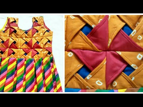 Origami flower Dress box pleated frock Making