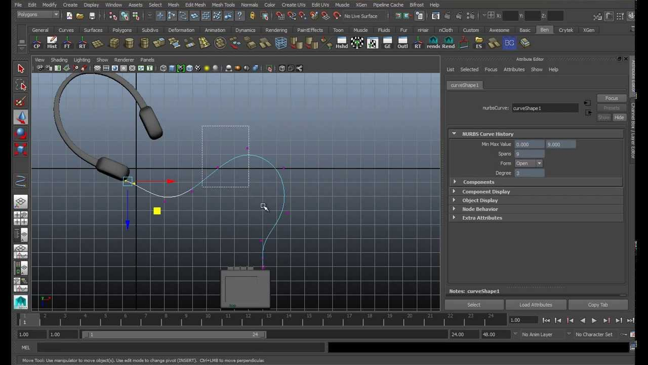 creating cables with curves in maya