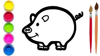 Coloring cute pig for toddlers and kids