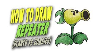 How To Draw Repeater from Plants vs Zombies  – Mr. Cute Cartoon Drawing Club