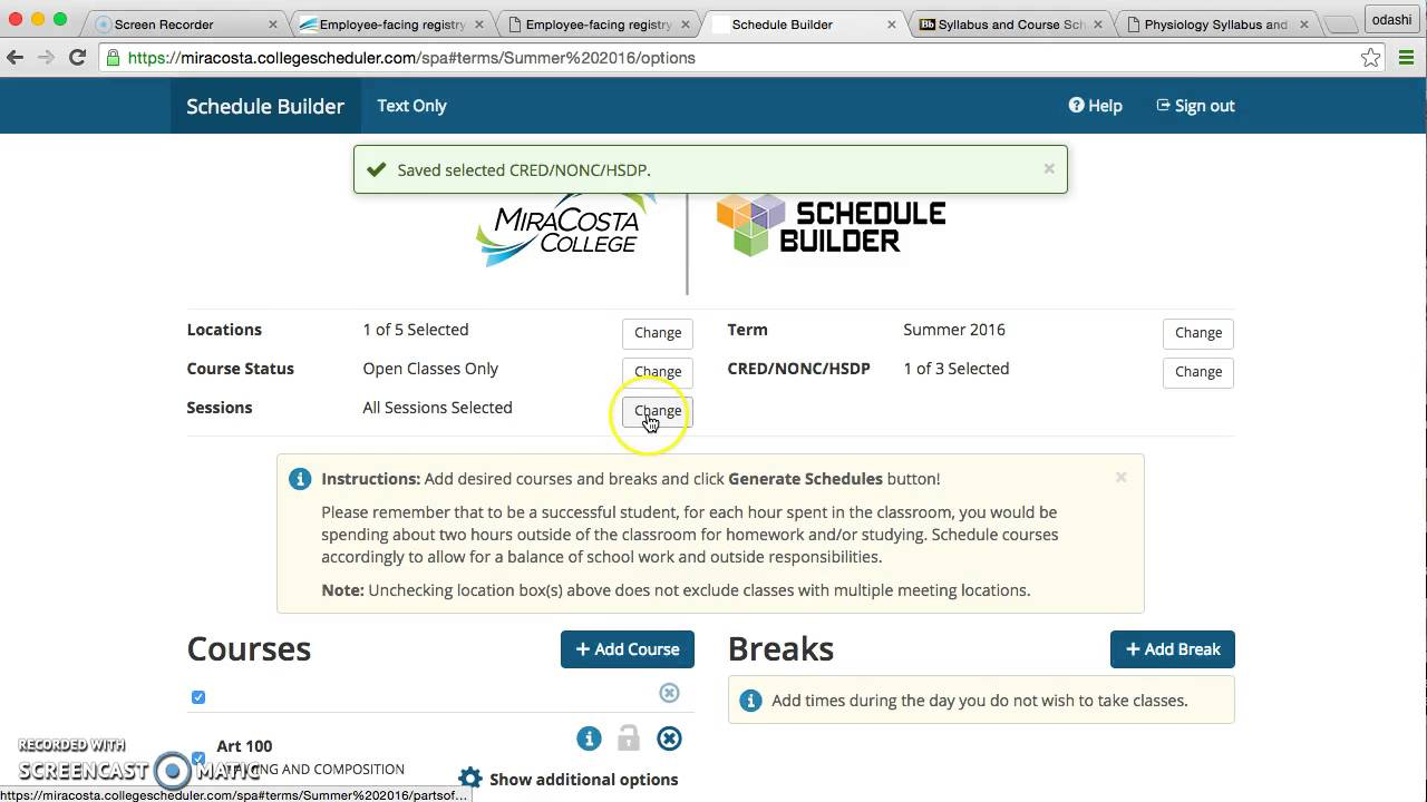 how to use miracosta schedule builder to enroll classes