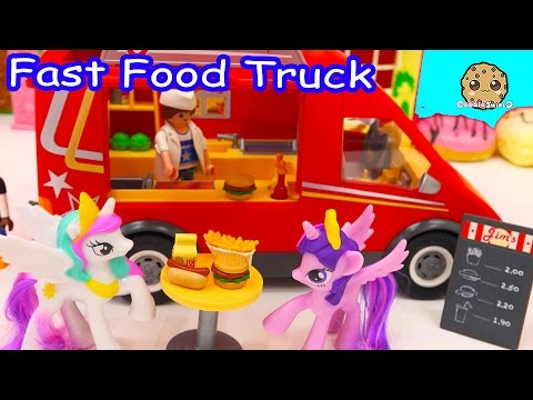 Playmobil Fast Food Truck Car With Burgers, Fries, Hotdogs With My Little Pony Toys - Cookieswirlc